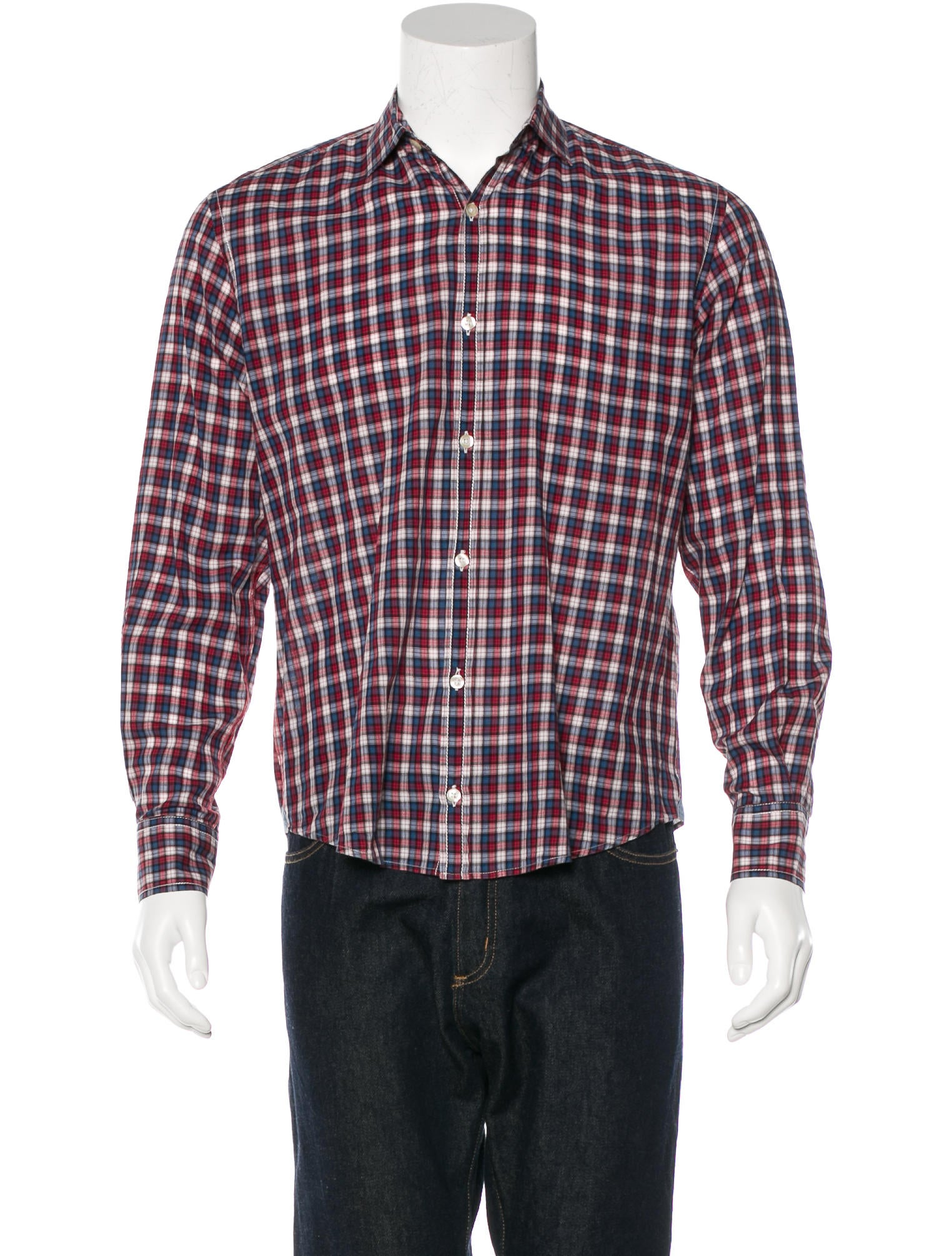 Hartford plaid spread collar shirt clothing whh1h20343 for Men s spread collar shirts
