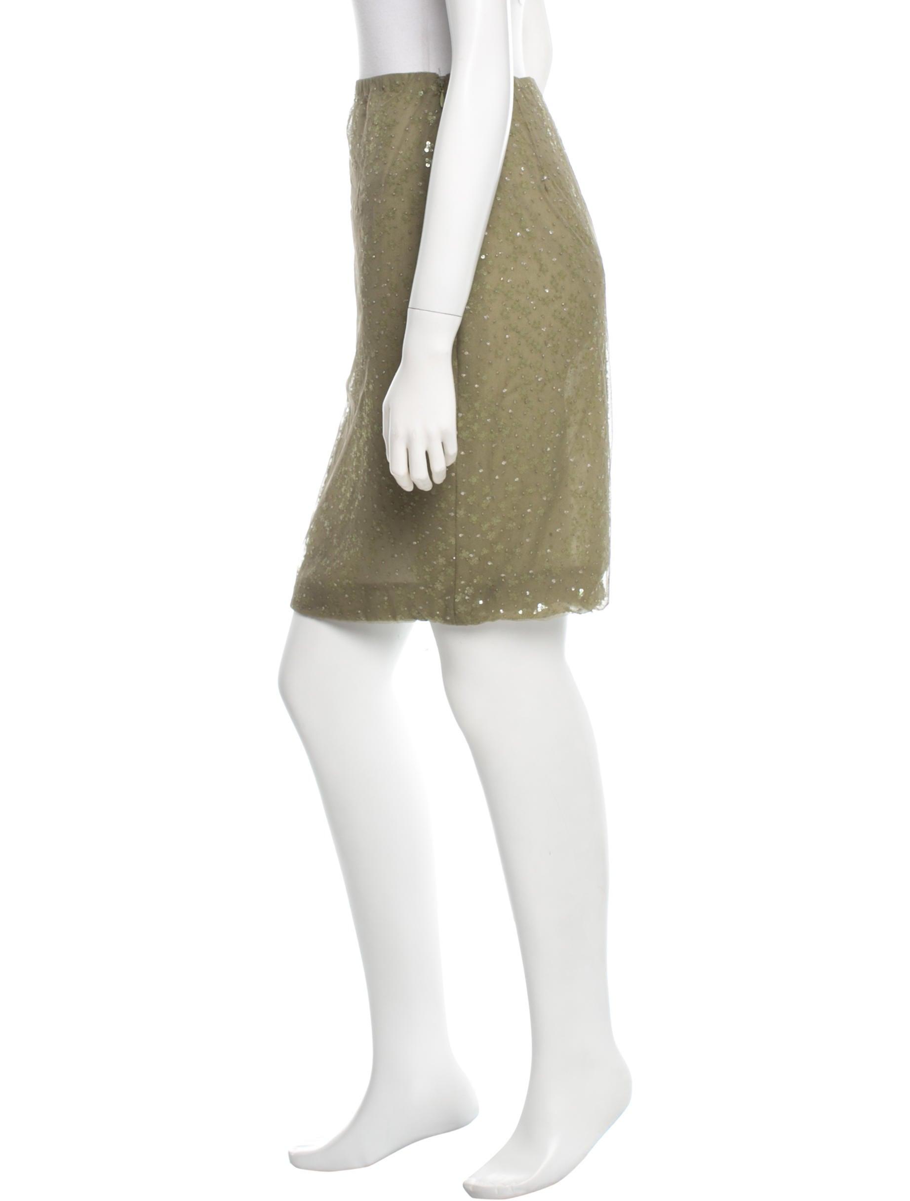 h by sequined embellished knee length skirt