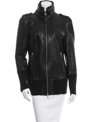 Leather Wool-Trimmed Jacket