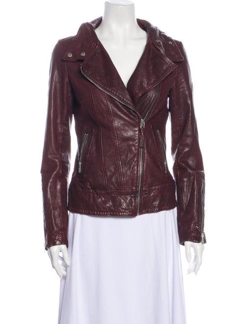 Mackage Lamb Leather Biker Jacket Red