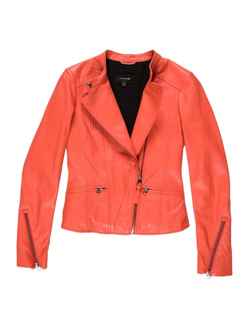 Mackage Lamb Leather Biker Jacket Orange