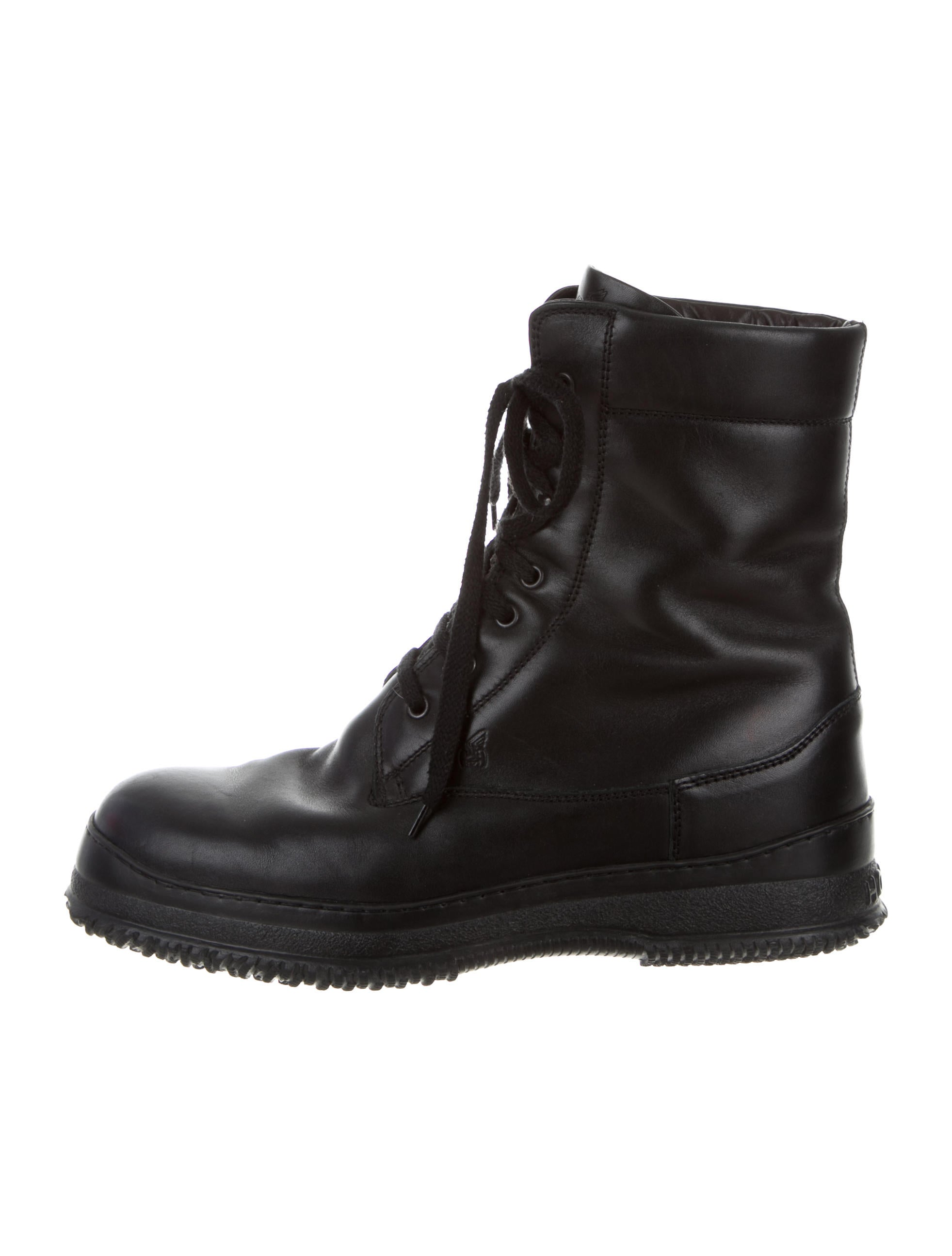 leather combat boots shoes who20286 the realreal