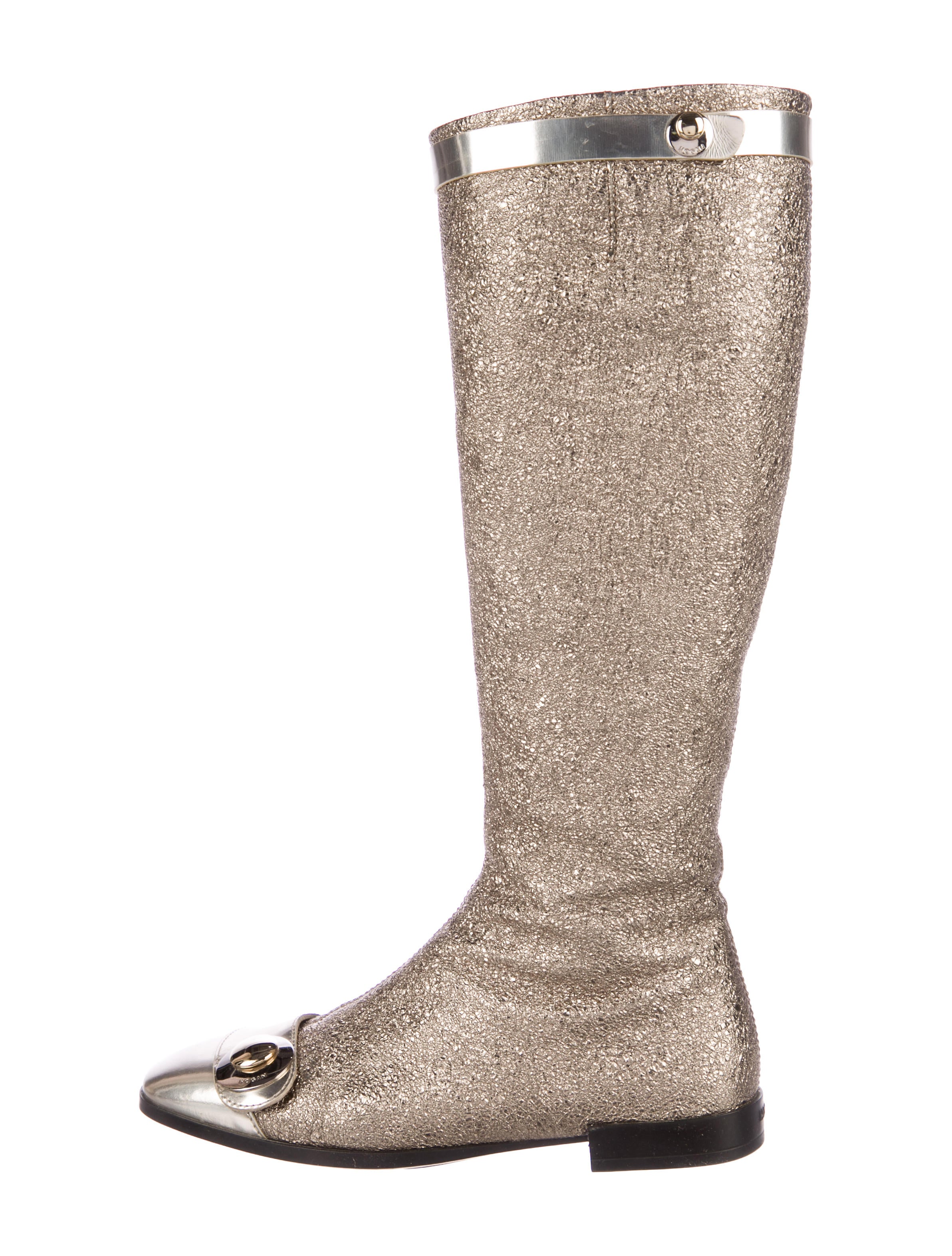 Metallic Leather Boots : Hogan metallic leather square toe knee high boots shoes