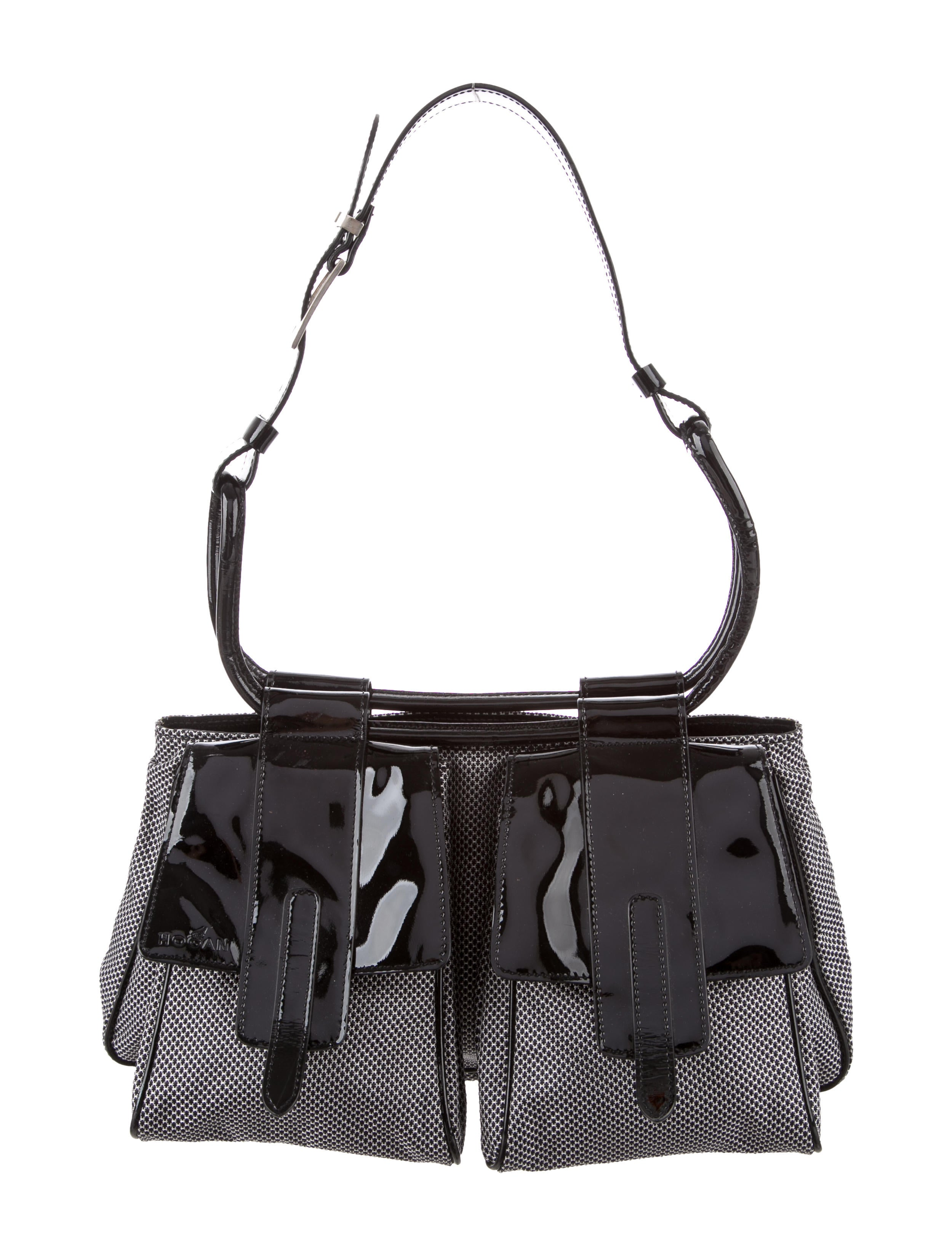 Patent Leather Trimmed Woven Bag