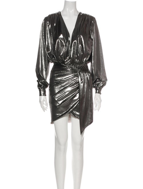 House of CB V-Neck Mini Dress Metallic