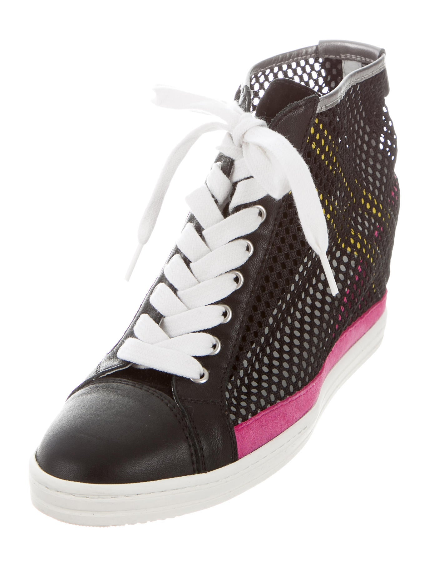 hogan rebel mesh wedge sneakers shoes whrbl20035 the realreal. Black Bedroom Furniture Sets. Home Design Ideas