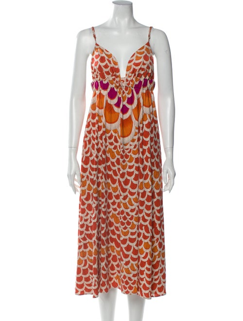 Mara Hoffman Silk Midi Length Dress Orange