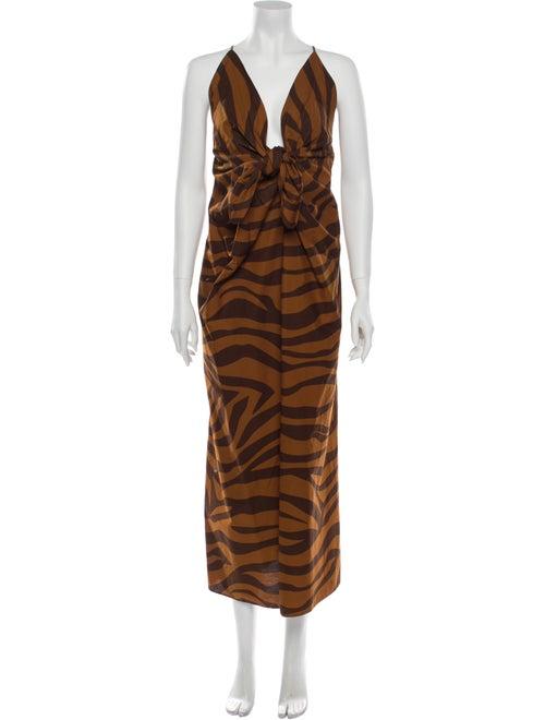 Mara Hoffman Animal Print Long Dress Brown
