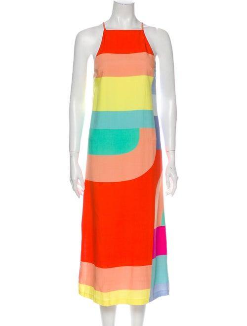 Mara Hoffman Striped Midi Length Dress Orange