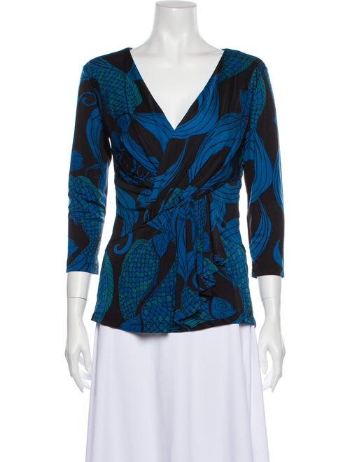 Mara Hoffman Printed V-Neck Blouse Blue