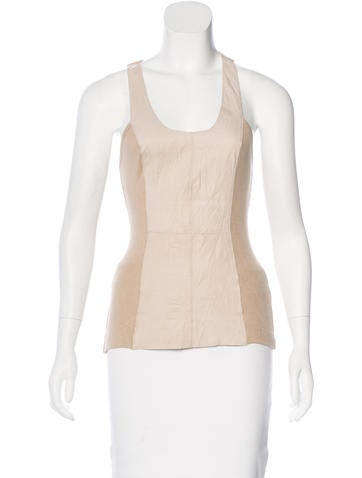 illia Leather-Accented Sleeveless Top None