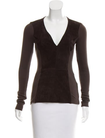 illia Suede-Paneled Knit Top w/ Tags None