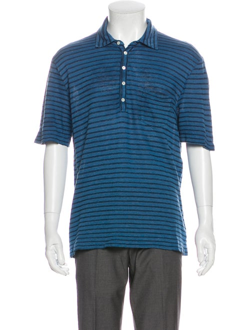 Massimo Alba Linen Striped Polo Shirt Blue