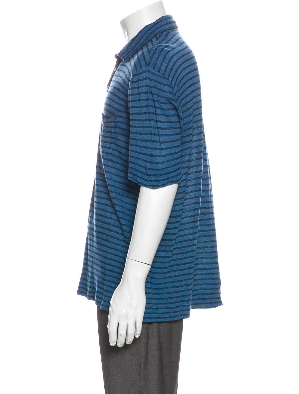 Massimo Alba Linen Striped Polo Shirt Blue - image 2