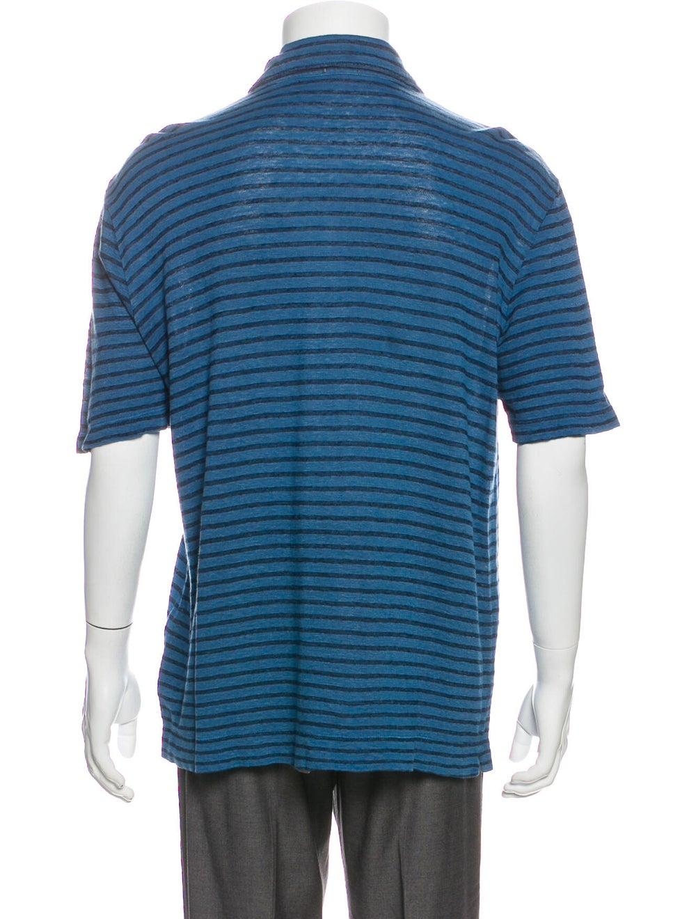 Massimo Alba Linen Striped Polo Shirt Blue - image 3