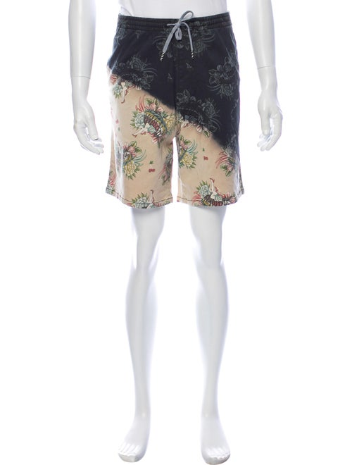 Icecream Floral Print Shorts w/ Tags Black