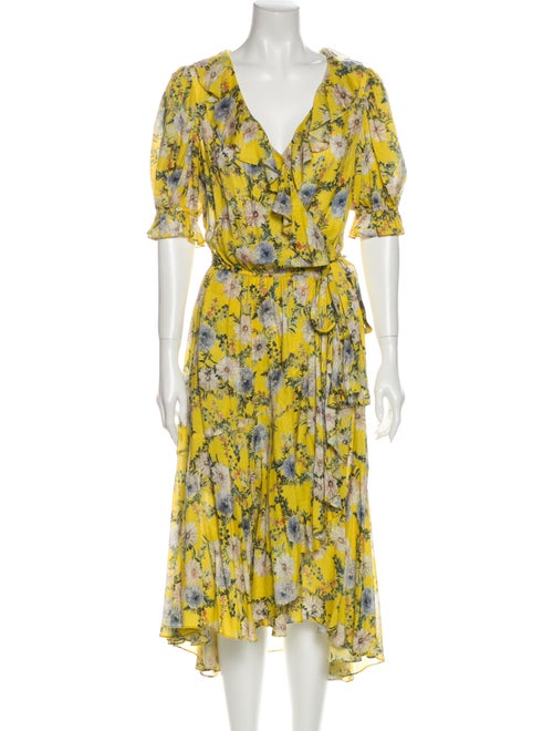 Icons Floral Print Midi Length Dress Yellow