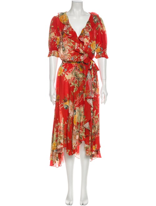 Icons Floral Print Midi Length Dress Red