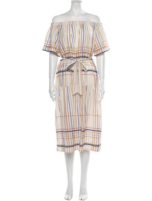 Miista Plaid Print Midi Length Dress Brown