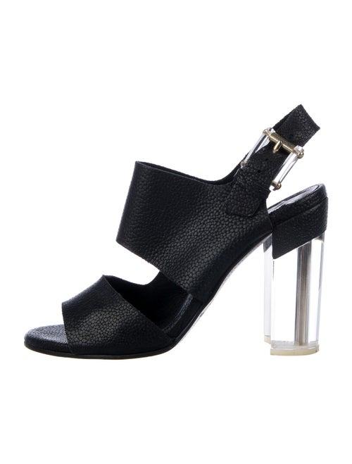 Miista Embossed Leather Slingback Sandals Black