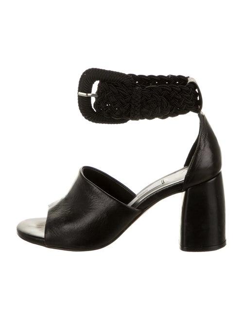 Miista Leather Braided Accents Sandals Black