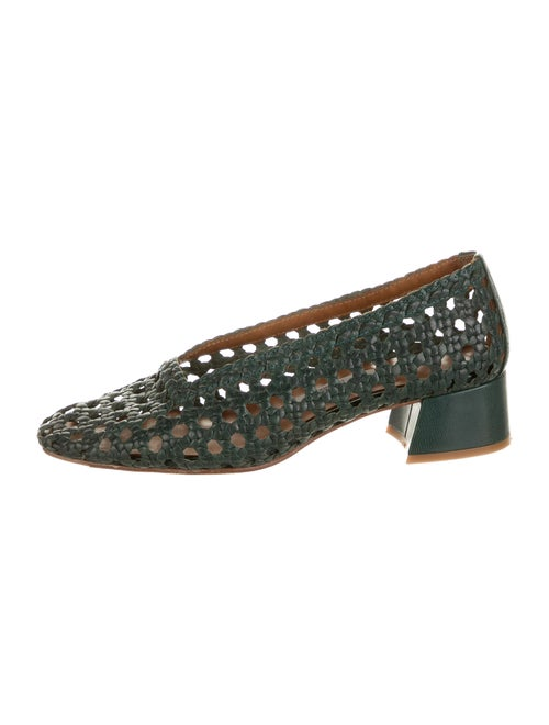 Miista Leather Braided Accents Pumps Green