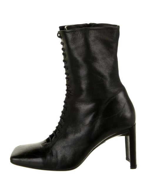 Miista Leather Lace-Up Boots Black