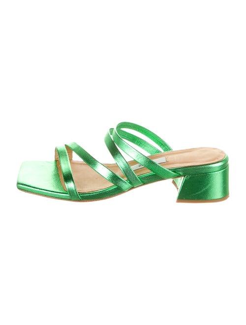 Miista Leather Slides Green