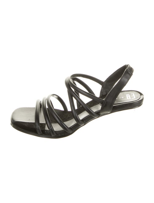 Miista Leather Slingback Sandals Black