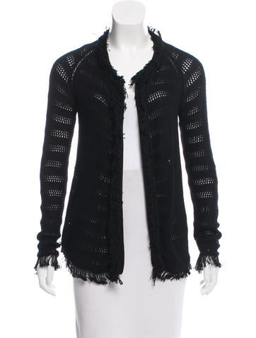 Inhabit Open Knit Fringe-Trimmed Cardigan None