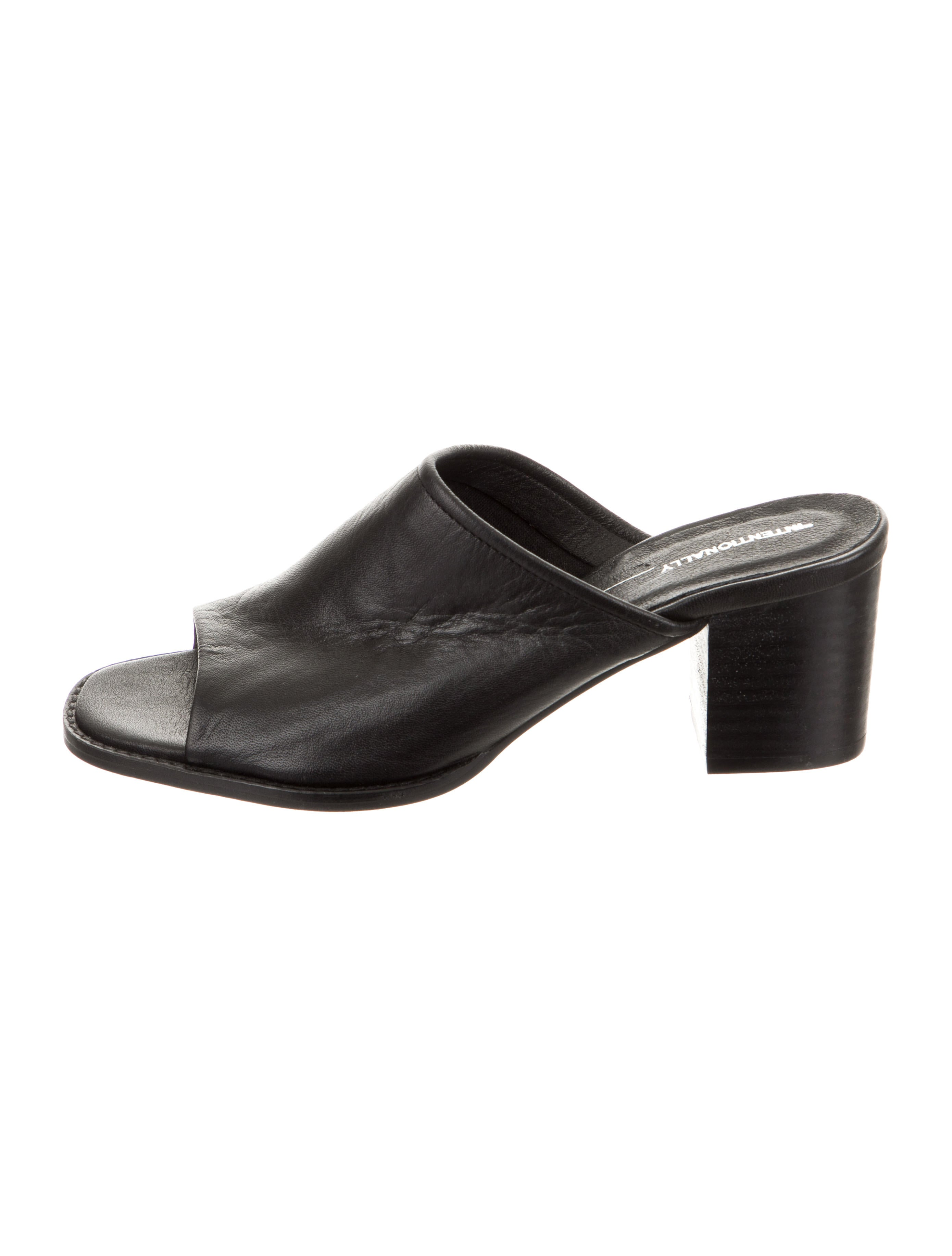 9e2301401e625 Intentionally Blank Leather Round-Toe Slide Sandals - Shoes ...