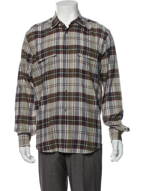 Inis Meáin Plaid Print Long Sleeve Western Shirt B