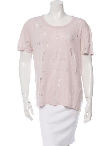 Iro Distressed Linen T-Shirt None