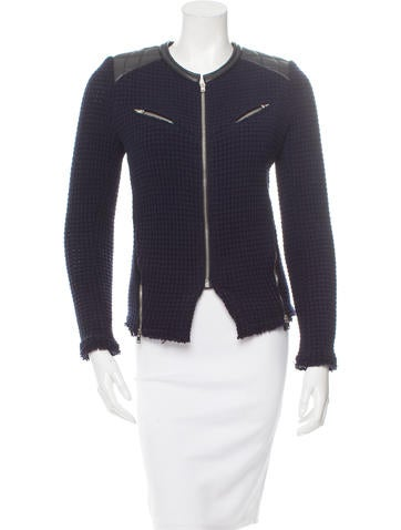 Leather-Trimmed Zip Accent Jacket