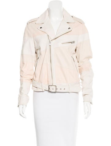 Iro Striped Leather Jacket None