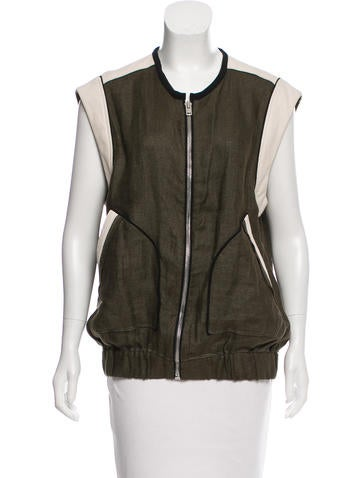 Iro Leather-Accented Sleeveless Top None