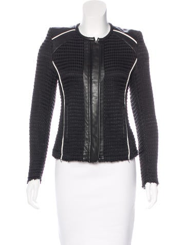 Iro Leather-Accented Knit Jacket None