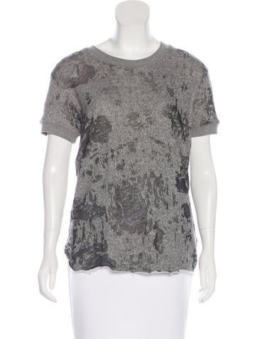 Iro Distressed Short Sleeve Top None