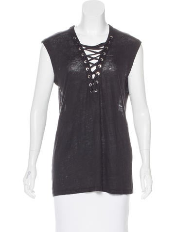 Iro Sleeveless V-Neck Top None