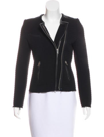 Iro Leather-Trimmed Collarless Jacket None