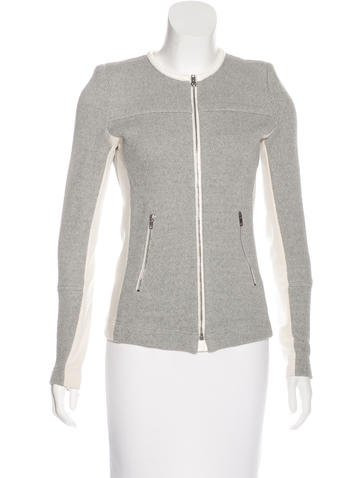 Iro Leather-Trimmed Knit Jacket None