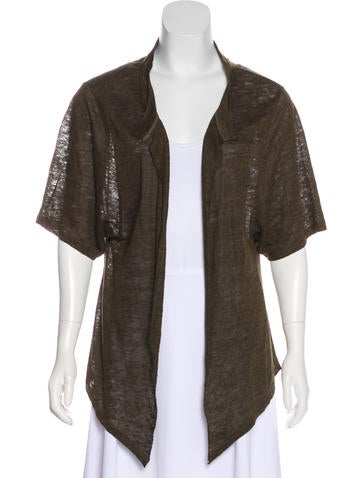 Iro Short Sleeve Linen Cardigan None