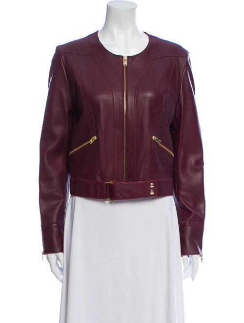 Iro Lamb Leather Biker Jacket Red