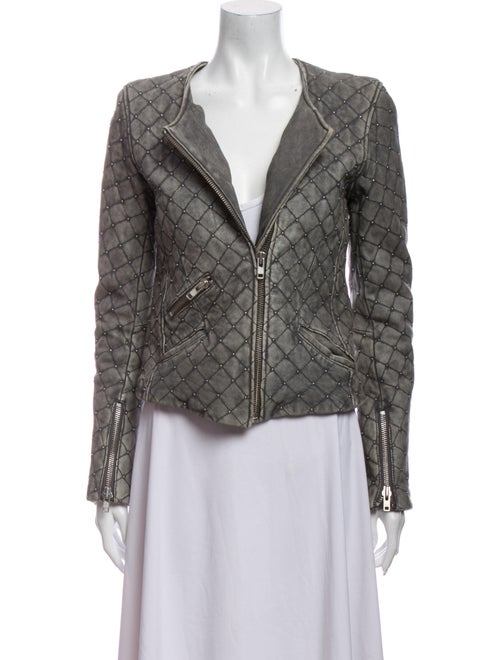Iro Leather Printed Blazer Grey