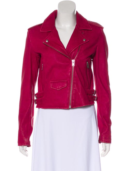 Iro Lamb Leather Biker Jacket Red