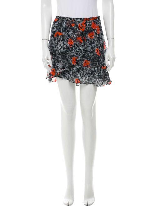 Iro Floral Print Mini Skirt Grey