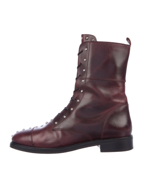 Iro Leather Printed Combat Boots
