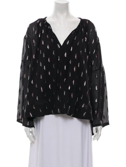 Iro Silk Printed Blouse Black