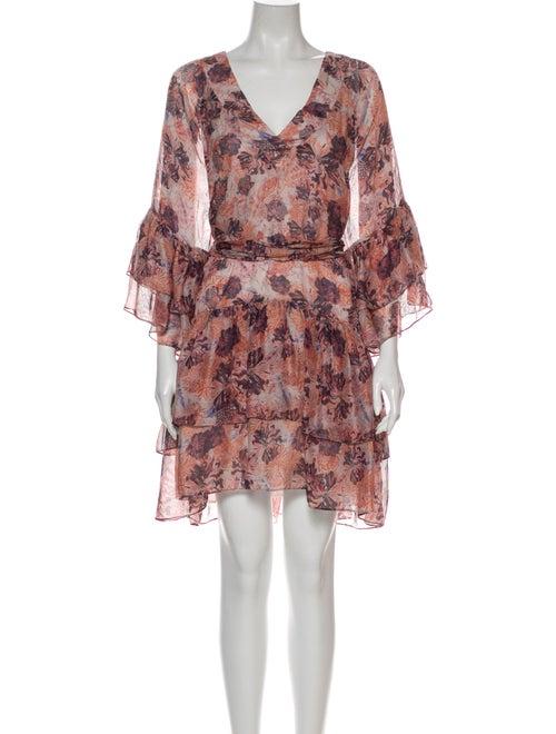 Iro Floral Print Mini Dress Orange