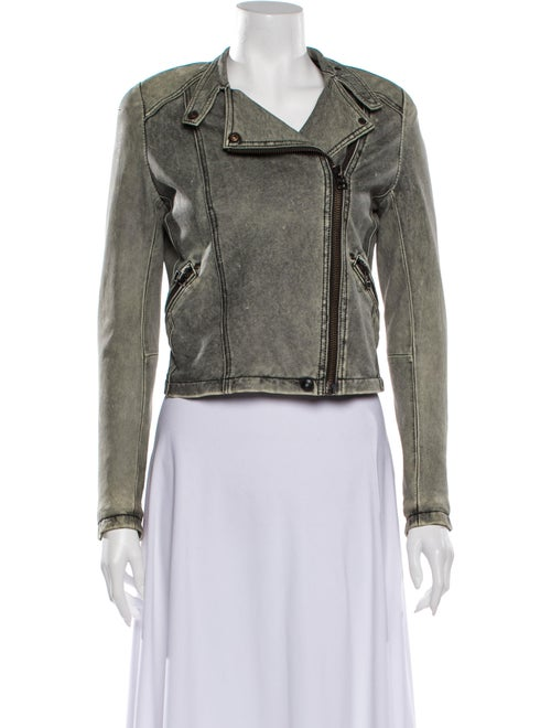 Iro Leather Biker Jacket Green
